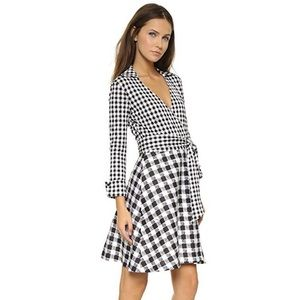 DVF Amelianna Gingham Silk Cotton Wrap Dress Sz 2
